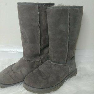 Ugh Boots Gray Suede Sheerling Wool sz 6